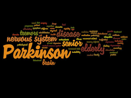 Concept conceptual Parkinson`s disease healthcare or nervous system disorder abstract word cloud isolated on background, metaphor to healthcare, illness, degenerative, genetic, symptom or brain Banco de Imagens