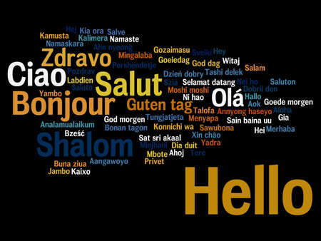 Concept or conceptual abstract hello or greeting international word cloud in different languages or multilingual, metaphor to world, foreign, worldwide, travel, translate, vacation or tourism Banco de Imagens - 159524353