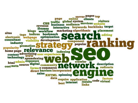 Concept or conceptual search engine optimization, seo abstract word cloud isolated on background, metaphor to marketing, web, internet, strategy, online, rank, result,  network, top, relevance Banco de Imagens - 159524358