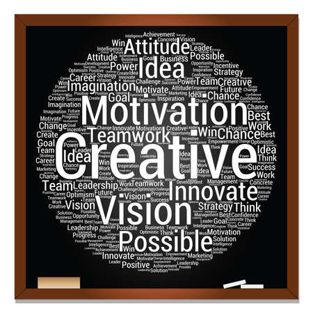 Concept or conceptual abstract creative business word cloud on black blackboard