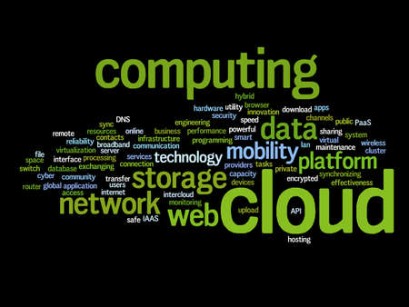 Concept conceptual web cloud computing technology abstract wordcloud isolated on background, metaphor to communication, business, storage, service, internet, virtual, online, mobility hosting Banco de Imagens