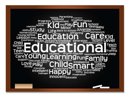 Concept or conceptual education abstract word cloud, blackboard background, metaphor to child, family, school, learn, knowledge, home, study, teach, educational, achievement, childhood or teen