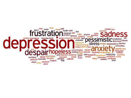 Concept conceptual depression or mental emotional disorder abstract word cloud isolated on background metaphor to anxiety, sadness, negative, sad, problem, despair, unhappy, frustration symptom Banco de Imagens - 159527325