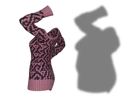 Conceptual fat overweight obese shadow female sweater dress vs slim fit healthy body after weight loss or diet thin young woman isolated. Banco de Imagens