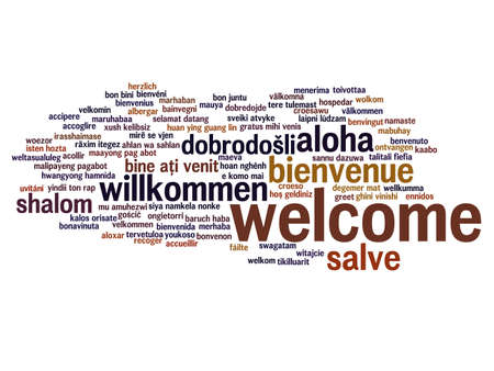 Concept or conceptual abstract welcome or greeting international word cloud in different languages or multilingual, metaphor to world, foreign, worldwide, travel, translate, vacation or tourism