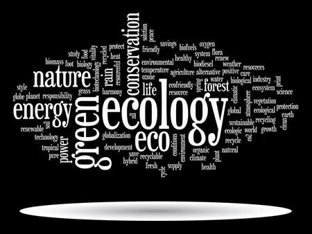 Concept or conceptual abstract green ecology and conservation word cloud text on black background, metaphor to environment, recycle, earth, alternative, protection, energy, eco friendly or bio Banco de Imagens - 159519854