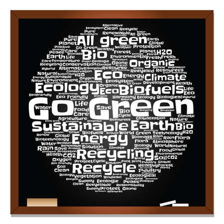 Concept or conceptual abstract green ecology, conservation word cloud text, blackboard background, metaphor to environment, recycle, earth, alternative, protection, energy, eco friendly or bio Banco de Imagens - 159519855
