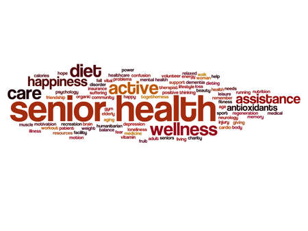 Concept conceptual old senior health, care or elderly people abstract word cloud isolated on background metaphor to healthcare, illness, medicine, assistance, help, treatment, active or happy Banco de Imagens - 159527326