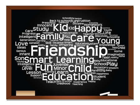 Concept or conceptual education abstract word cloud, blackboard background, metaphor to child, family, school, learn, knowledge, home, study, teach, educational, achievement, childhood or teen Banco de Imagens - 159519857