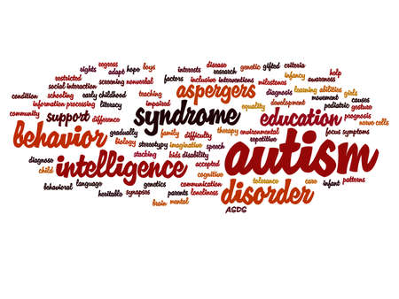 Concept conceptual childhood autism syndrome symtoms or disorder abstract word cloud isolated on background, metaphor to communication, social, behavior, care, autistic, speech or difference Banco de Imagens