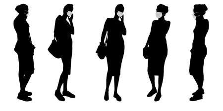 Vector concept conceptual  silhouette women taking while social distancing as means of prevention and protection against coronavirus contamination.