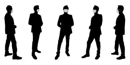 Vector concept conceptual  silhouette men talking while social distancing as means of prevention and protection against coronavirus contamination.