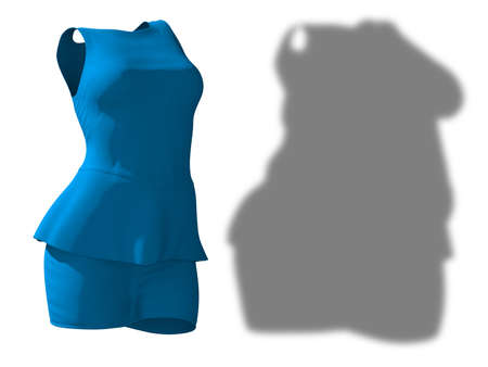 Conceptual fat overweight obese shadow female blouse and skirt vs slim fit healthy body after weight loss or diet thin young woman isolated. A fitness, nutrition, obesity health shape 3D illustration Banco de Imagens - 159527329