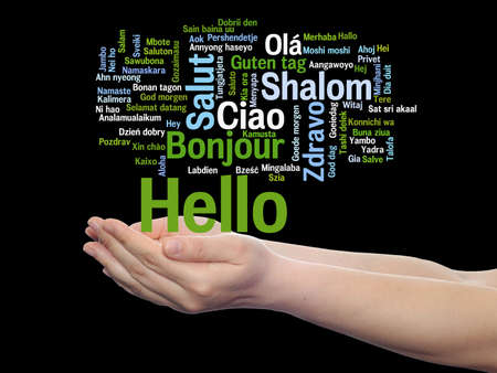 Concept or conceptual abstract hello or greeting international word cloud on hands in different languages or multilingual, metaphor to world, foreign, worldwide, travel, translate, vacation or tourism Banco de Imagens