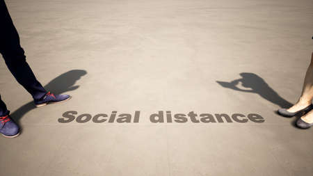 Concept or conceptual 3d illustration of a man to woman meeting following social distance guidelines on a wooden floor background. A metaphor for the change in company relations during the lockdown.