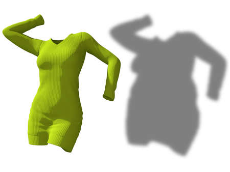 Conceptual fat overweight obese shadow female sweater dress vs slim fit healthy body after weight loss or diet thin young woman isolated. A fitness, nutrition or obesity health shape 3D illustration Banco de Imagens - 159527331