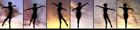 Conceptual fat overweight obese female vs slim fit healthy body after weight loss or diet with muscles thin young woman over sunset. Fitness, nutrition or fatness obesity, health shape 3D illustration Banco de Imagens - 159527332