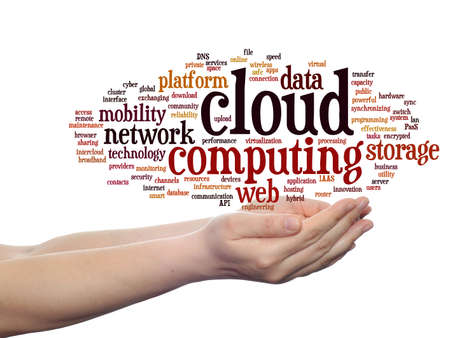 Concept conceptual web cloud computing technology abstract wordcloud in hand isolated on background, metaphor to communication, business, storage, service, internet, virtual, online, mobility hosting
