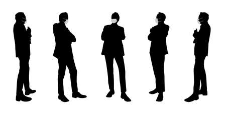 Vector concept conceptual  silhouette men talking while social distancing as means of prevention and protection against coronavirus contamination. A metaphor for the new normal. Banco de Imagens - 159527338