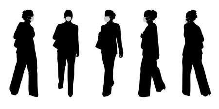 Vector concept conceptual  silhouette women working while social distancing as means of prevention and protection against coronavirus contamination. A metaphor for the new normal. Banco de Imagens - 159527339