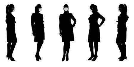 Vector concept conceptual  silhouette women taking while social distancing as means of prevention and protection against coronavirus contamination. A metaphor for the new normal.
