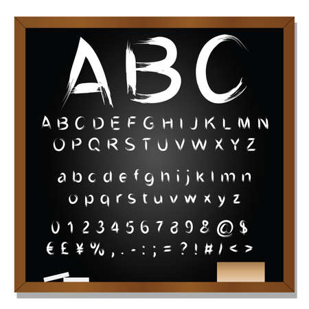 Concept or conceptual set or collection of white handwritten, sketch or scribble fonts isolated on blackboard black background, metaphor to school, education, childhood, artistic or children Stok Fotoğraf