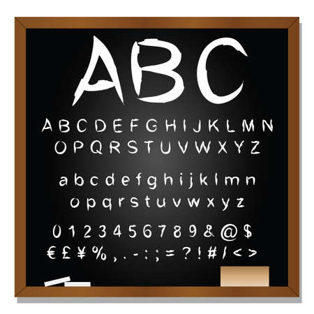 Concept or conceptual set or collection of white handwritten, sketch or scribble fonts isolated on blackboard black background, metaphor to school, education, childhood, artistic or children Banco de Imagens