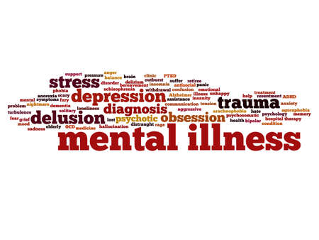 Concept conceptual mental illness disorder management or therapy abstract word cloud isolated on background metaphor to health, trauma, psychology, help, problem, treatment or rehabilitation