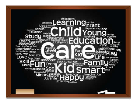 Concept or conceptual education abstract word cloud, blackboard background, metaphor to child, family, school, learn, knowledge, home, study, teach, educational, achievement, childhood or teen Banque d'images