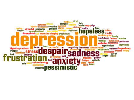 Concept conceptual depression or mental emotional disorder abstract word cloud isolated on background metaphor to anxiety, sadness, negative, sad, problem, despair, unhappy, frustration symptom Фото со стока