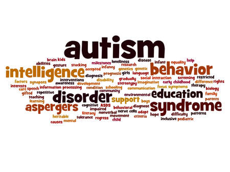 Concept conceptual childhood autism syndrome symtoms or disorder abstract word cloud isolated on background, metaphor to communication, social, behavior, care, autistic, speech or difference Imagens