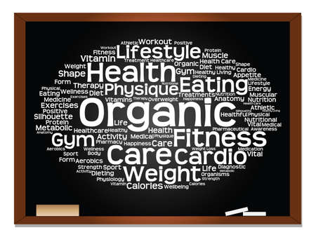 Concept or conceptual abstract word cloud on blackboard background, metaphor to health, nutrition, diet, wellness, body, energy, medical, fitness, medical, gym, medicine, sport, heart science