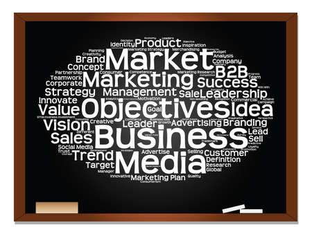 Concept or conceptual abstract word cloud on blackboard background as metaphor for business, trend, media, focus, market, value, product, advertising or customer. Also for corporate wordcloud