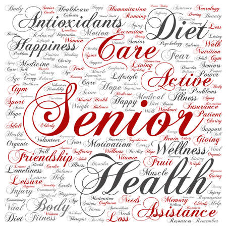 Concept conceptual old senior health, care or elderly people abstract word cloud isolated on background metaphor to healthcare, illness, medicine, assistance, help, treatment, active or happy Banque d'images