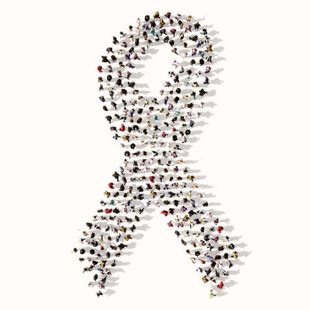 Concept conceptual large community of people forming the image of breast cancer symbol. 3d illustration metaphor for awareness, solidarity, life, prevention, support, help and cure