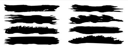 Collection of artistic grungy black paint hand made creative brush stroke set isolated on background. A group of abstract grunge sketches for design education or graphic art decoration 3d illustration