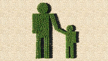 Concept or conceptual group of green forest tree on dry ground background, adult and child holding hands sign. 3d illustration metaphor for family, education, warning, prevention and security Banco de Imagens
