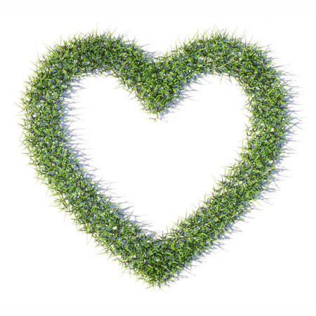 Concept or conceptual green summer lawn grass symbol shape isolated white background, like icon. 3d illustration metaphor for love, popular, trendy, health, romance and marriage