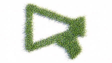 Concept or conceptual green summer lawn grass symbol shape isolated white background, megaphone icon. 3d illustration metaphor for communication, audio announcement, broadcast, warning and marketing Banco de Imagens