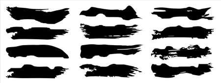 Vector collection of artistic grungy black paint hand made creative brush stroke set isolated on banner background. A group of abstract grunge sketches for design education or graphic art decoration