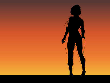 Vector conceptual fat overweight obese female vs slim fit healthy body after weight loss or diet with muscles thin young woman over sunset. Fitness, nutrition or fatness obesity, health shape