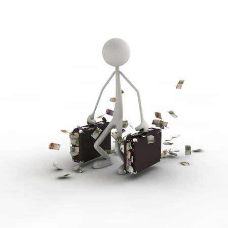 finanzen: Figur mit Geldkoffer