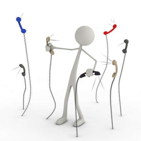 cable telefono: una figura tiene una pelea con auriculares telefónicos