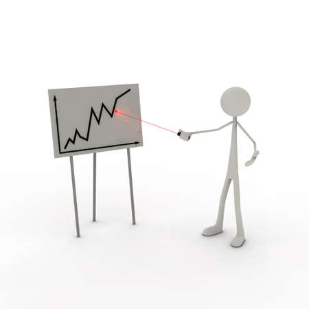 xiller: a figure points at a flip chart with its laserpointer Stock Photo