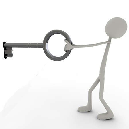 or lock up: una figura con una gran llave quiere abrir la cerradura