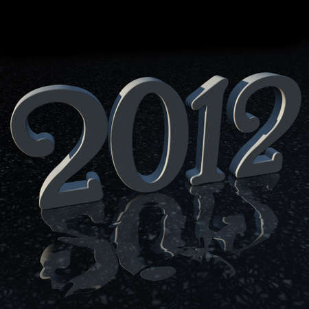xiller: a typography of 2012 is reflected by the floor Stock Photo