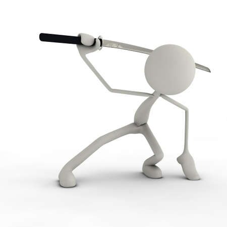 a figure doing tricks with its Katana photo