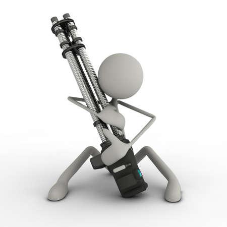 psychopath: a figure sitting on the floor loving its minigun Stock Photo