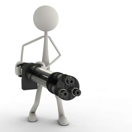 barre: a figure with a minigun in action Stock Photo