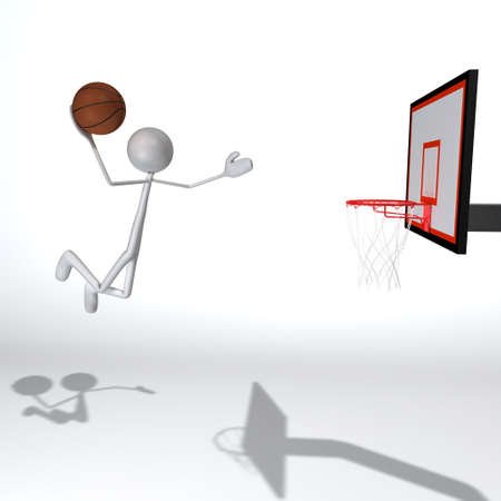 threw: a figure is jumping threw the air and doing a slam dunk